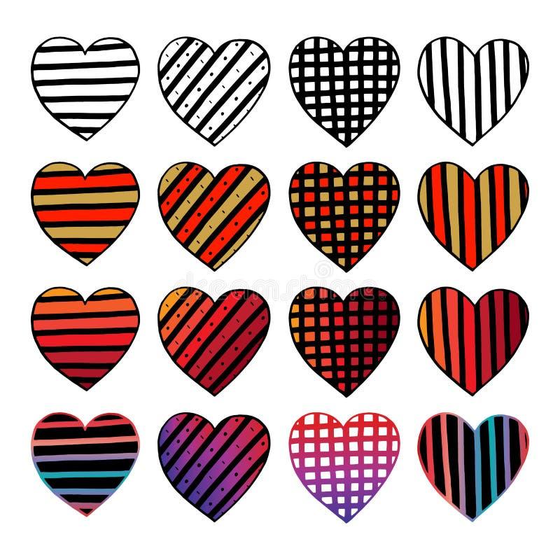 Комплект сердец нарисованных рукой Красочный doodle эскиза вектора Валентайн вектор иллюстрации элементов конструкции графический иллюстрация вектора