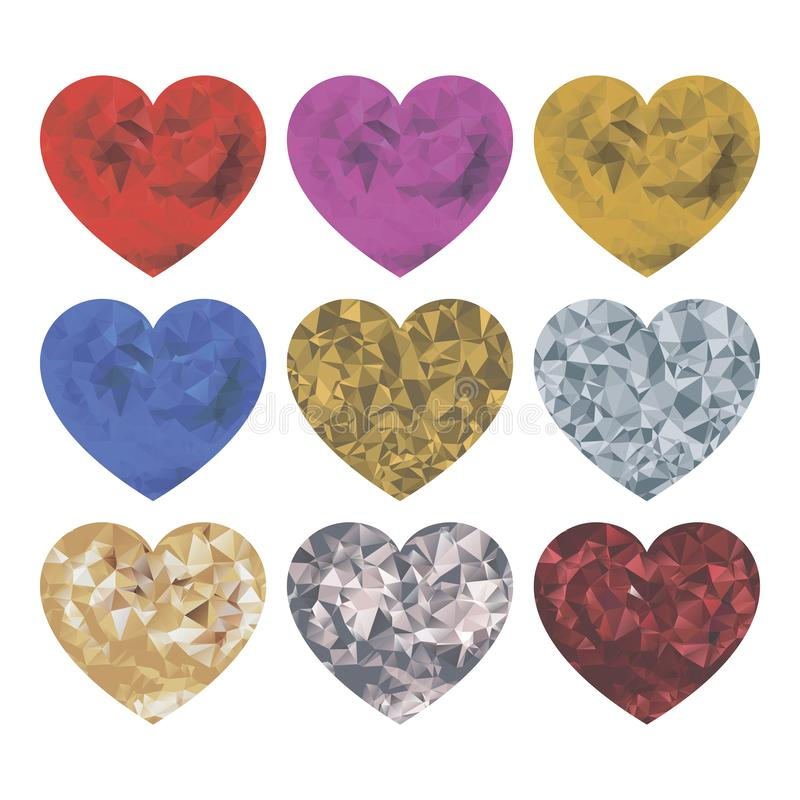 Комплект сердец на белой предпосылке Изолированные сердца Детали для украшения на праздники иллюстрация вектора