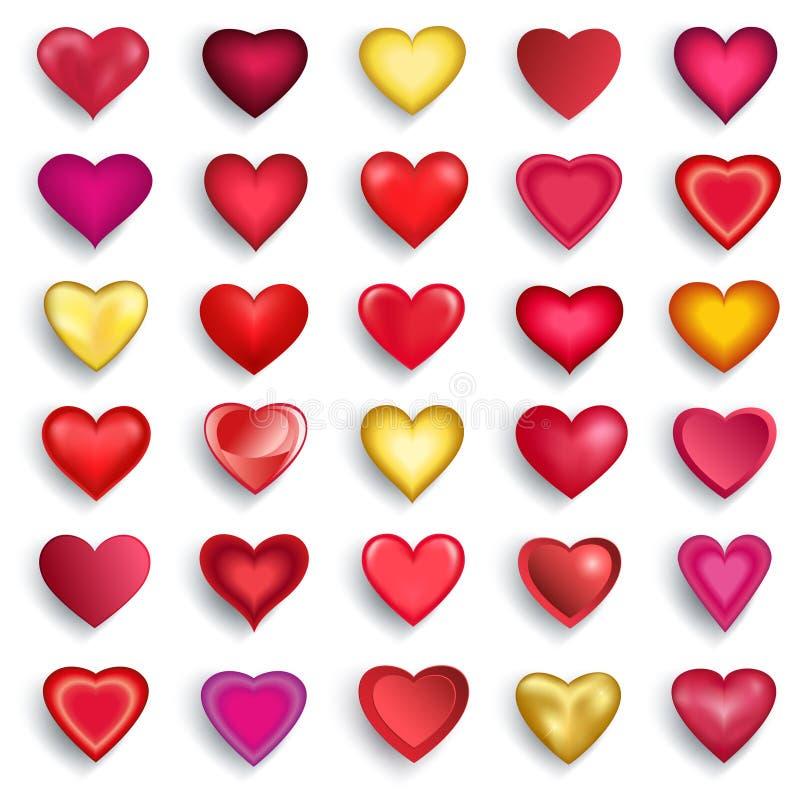 Комплект сердец 3d на день валентинок, свадьба, день рождения иллюстрация вектора