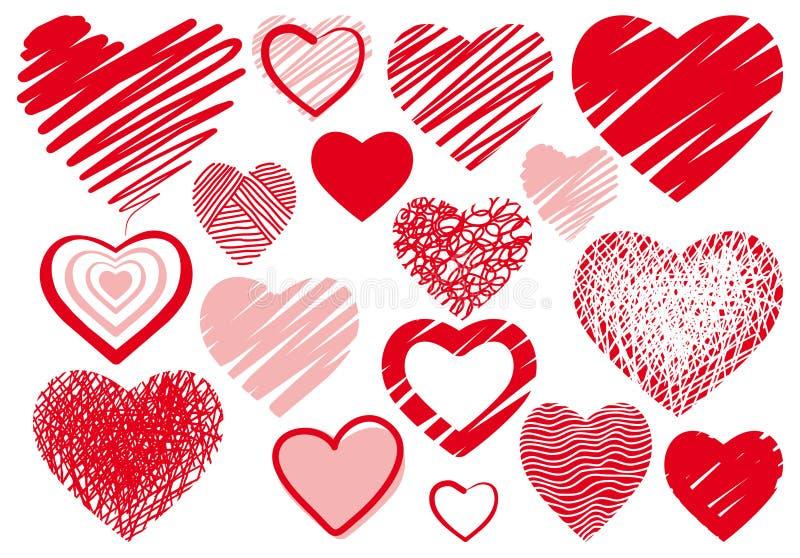 комплект сердца чертежей иллюстрация вектора