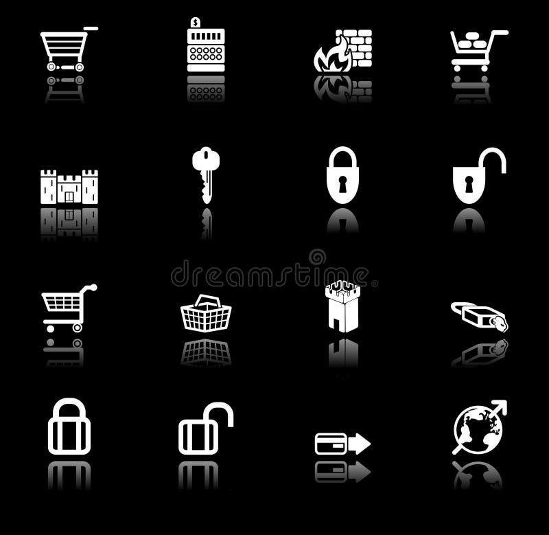 комплект серии обеспеченностью иконы коммерции e иллюстрация вектора