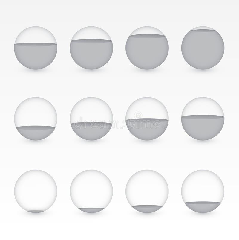 Комплект серых или черных круговых аквариумов с различными уровнями воды для того чтобы показать значение процента для представле иллюстрация штока