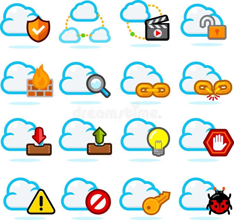 комплект сети икон облака иллюстрация штока