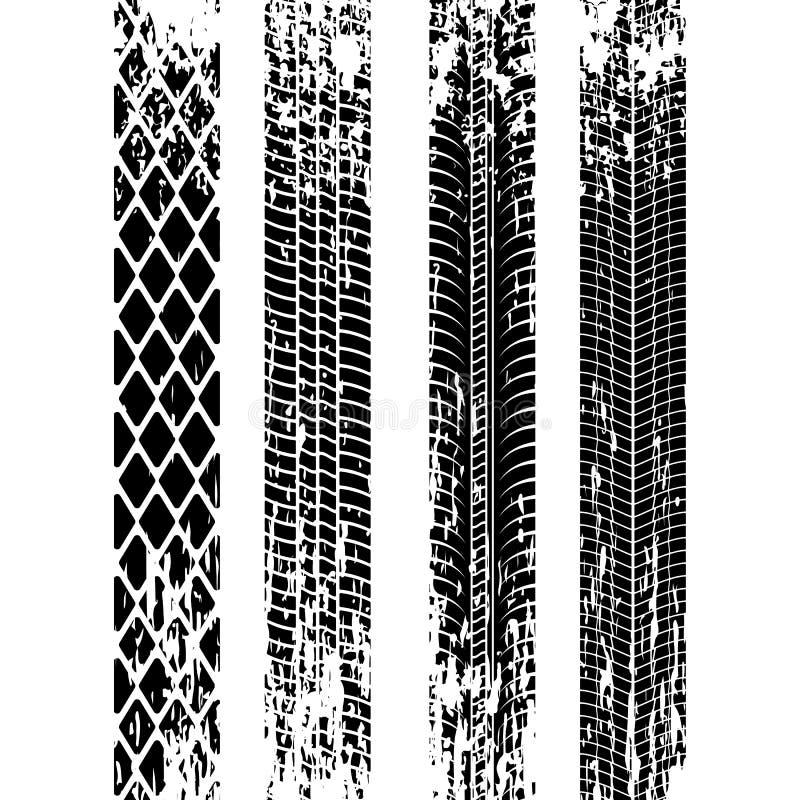 Комплект силуэта следа автошины След автошины Grunge черный след автошины также вектор иллюстрации притяжки corel иллюстрация штока