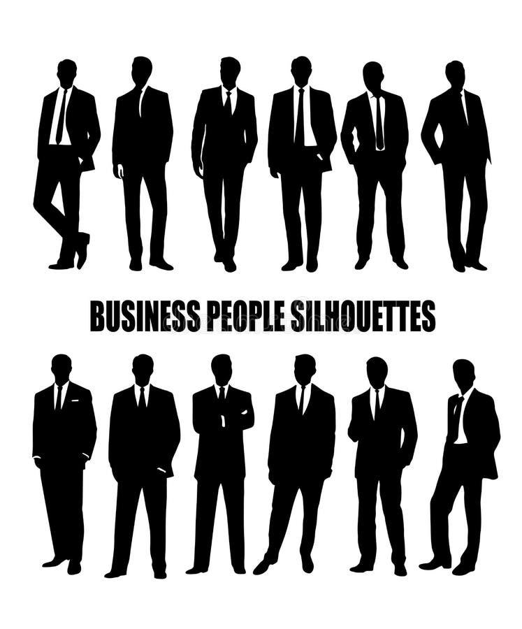 Комплект силуэтов бизнесменов в костюме иллюстрация штока