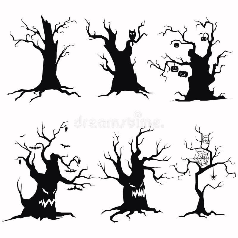 Комплект силуэтов дерева на хеллоуин Собрание деревьев изверга с летучими мышами и тыквами черная белизна иллюстрация вектора