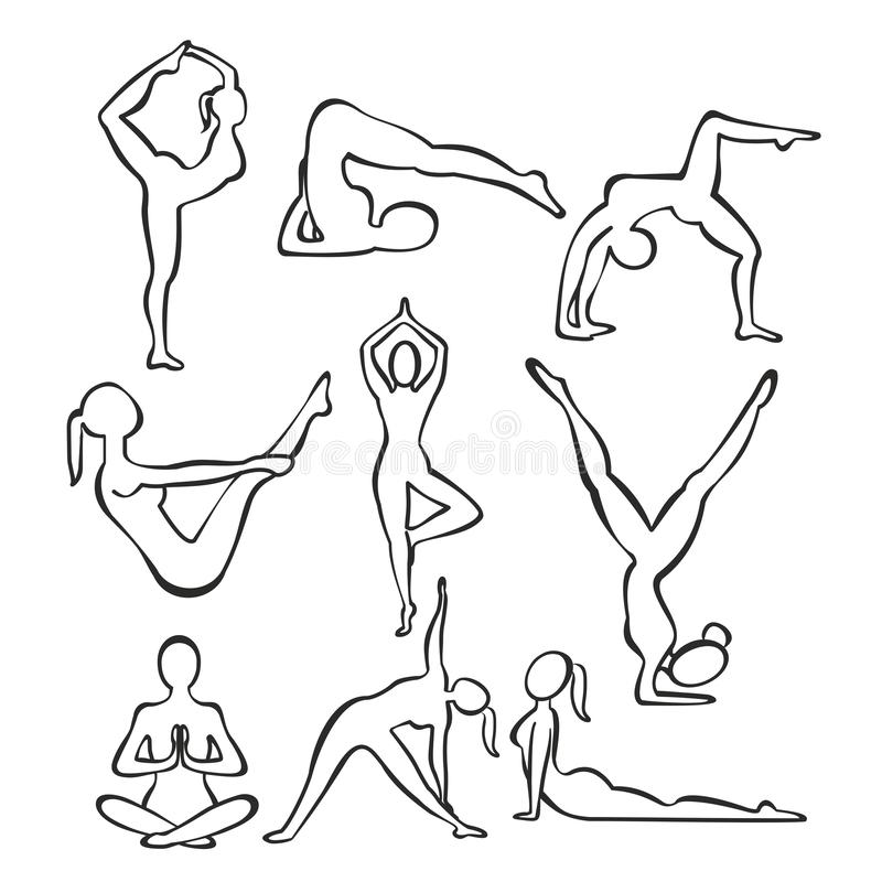Комплект силуэтов контура положений йоги тонкой девушки практикуя, линия формы иллюстрации вектора женщины делая йогу иллюстрация вектора