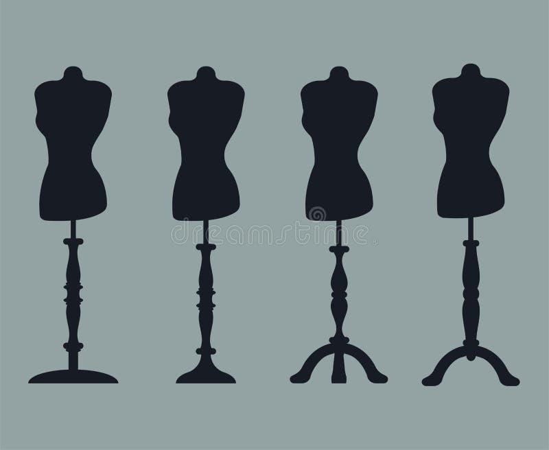 Комплект 4 силуэтов манекенов на высекаенных ногах иллюстрация штока