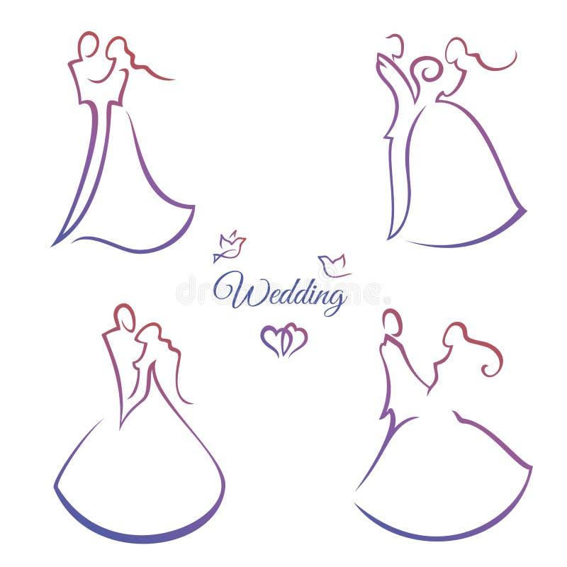 Комплект силуэтов свадьбы иллюстрация штока