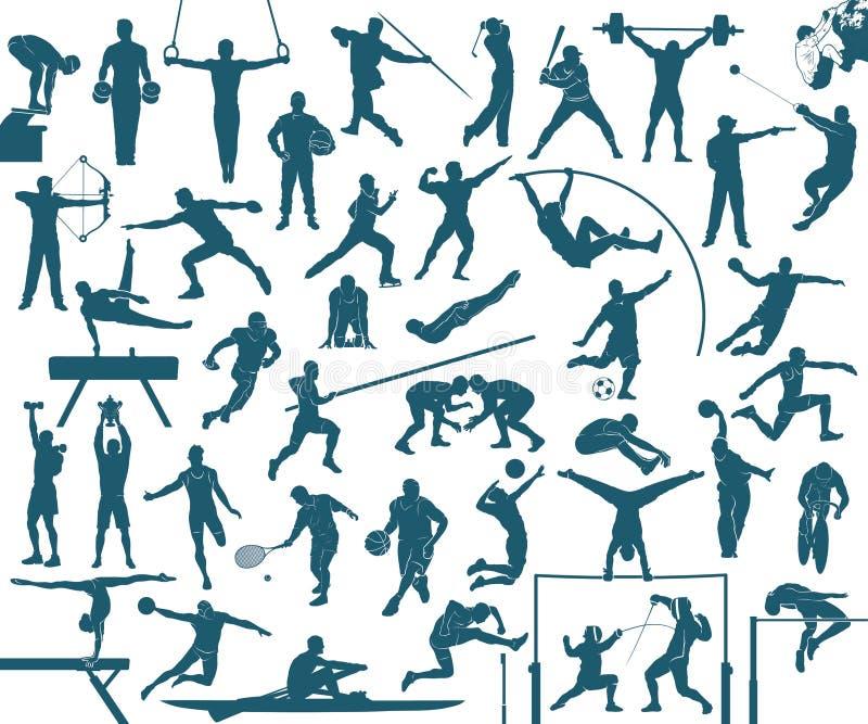 Комплект силуэтов спорта иллюстрация вектора