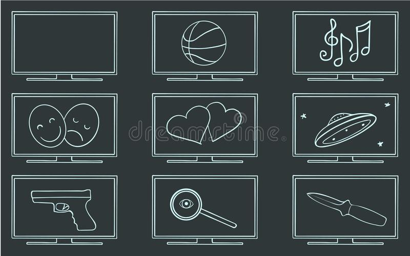 Комплект символа жанров ТВ кино иллюстрация вектора