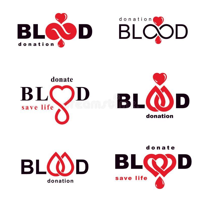 Комплект символов вектора созданных на теме донорства крови, tra крови бесплатная иллюстрация