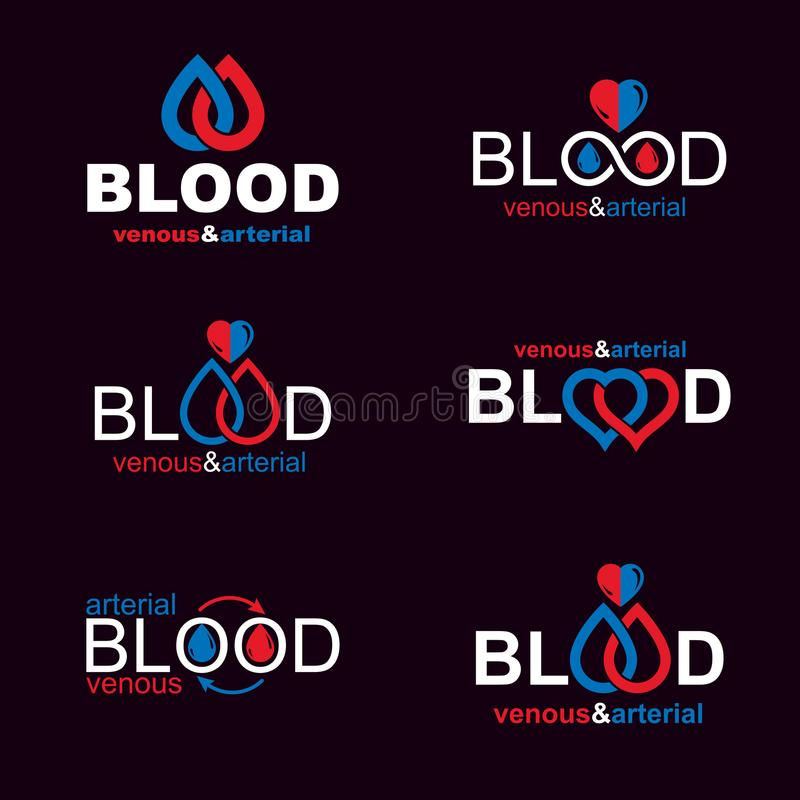 Комплект символов вектора созданных на теме донорства крови, tra крови иллюстрация вектора