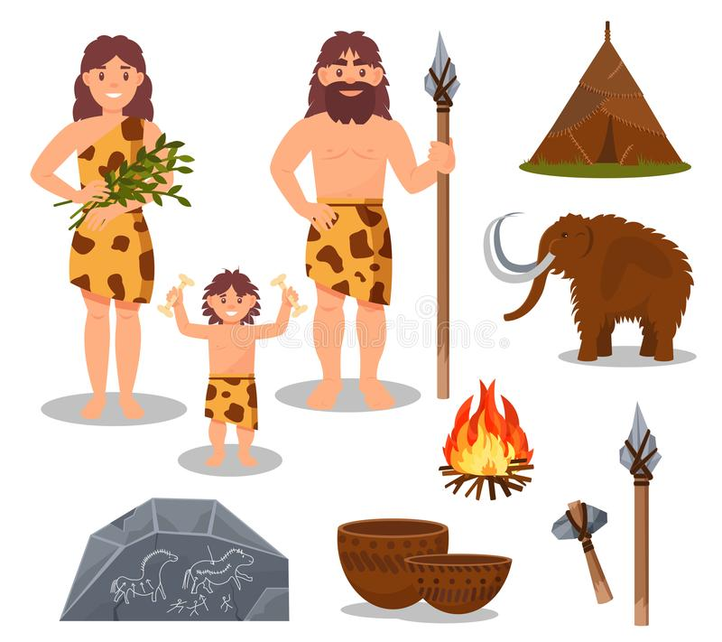 Комплект символов каменного века, примитивные люди, мамонт, оружие, доисторические иллюстрации вектора дома на белой предпосылке иллюстрация вектора