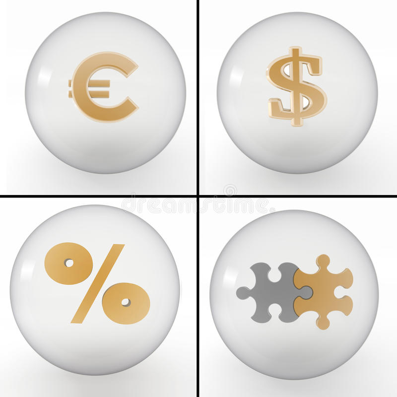 Комплект символов на финансовохозяйственном деле бесплатная иллюстрация