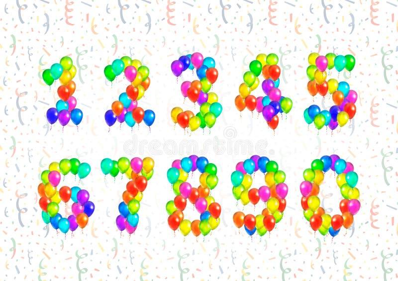 Комплект символов номера составил от ярких красочных воздушных шаров на предпосылке с confetti бесплатная иллюстрация