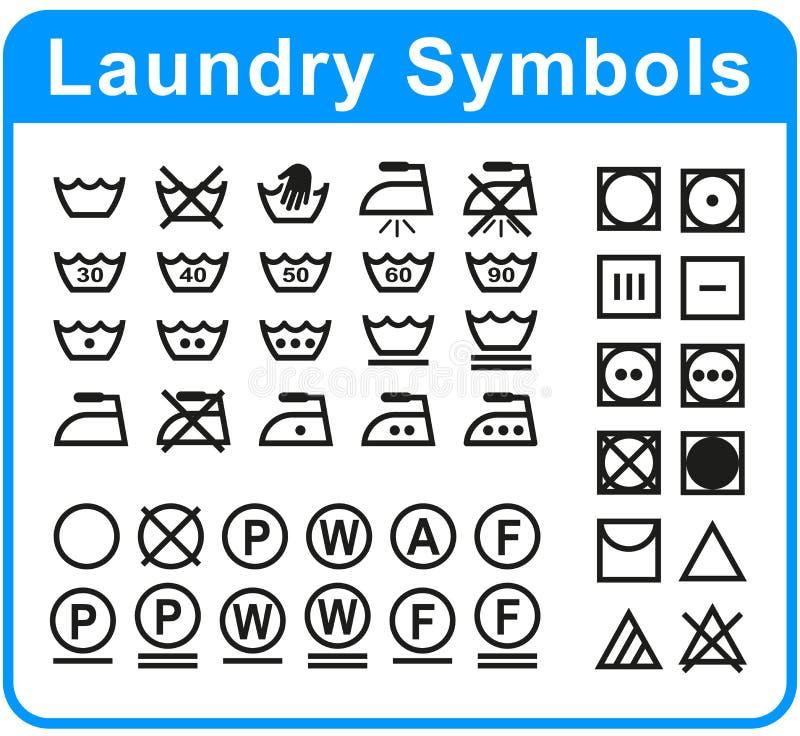 Комплект символов прачечной на белой предпосылке иллюстрация вектора