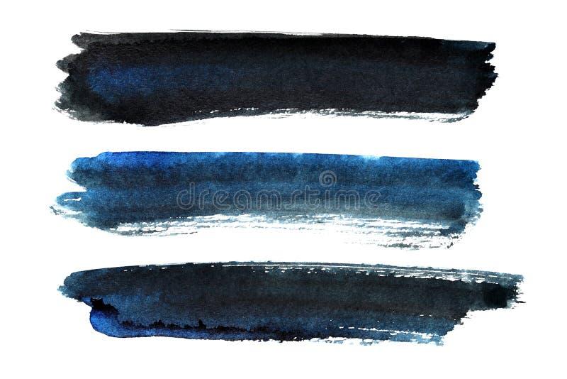 Комплект сине-черных ходов щетки бесплатная иллюстрация