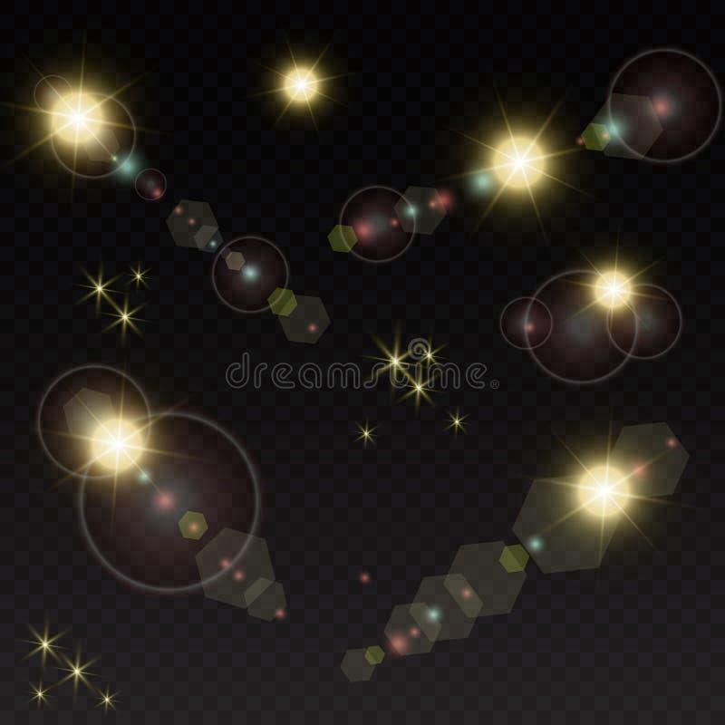Комплект Сияющая звезда, частицы солнца и искры с влиянием самого интересного, золотое bokeh освещают яркий блеск и sequins На a иллюстрация вектора
