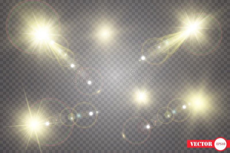 Комплект Сияющая звезда, частицы солнца и искры с влиянием самого интересного, золотое bokeh освещают яркий блеск и sequins На a иллюстрация штока
