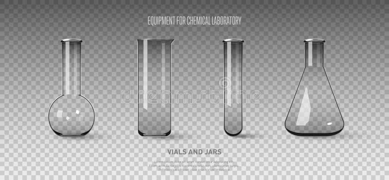 Комплект склянок и пробирок изолированных на прозрачной предпосылке Оборудование для химической лаборатории Прозрачный стеклянный иллюстрация штока