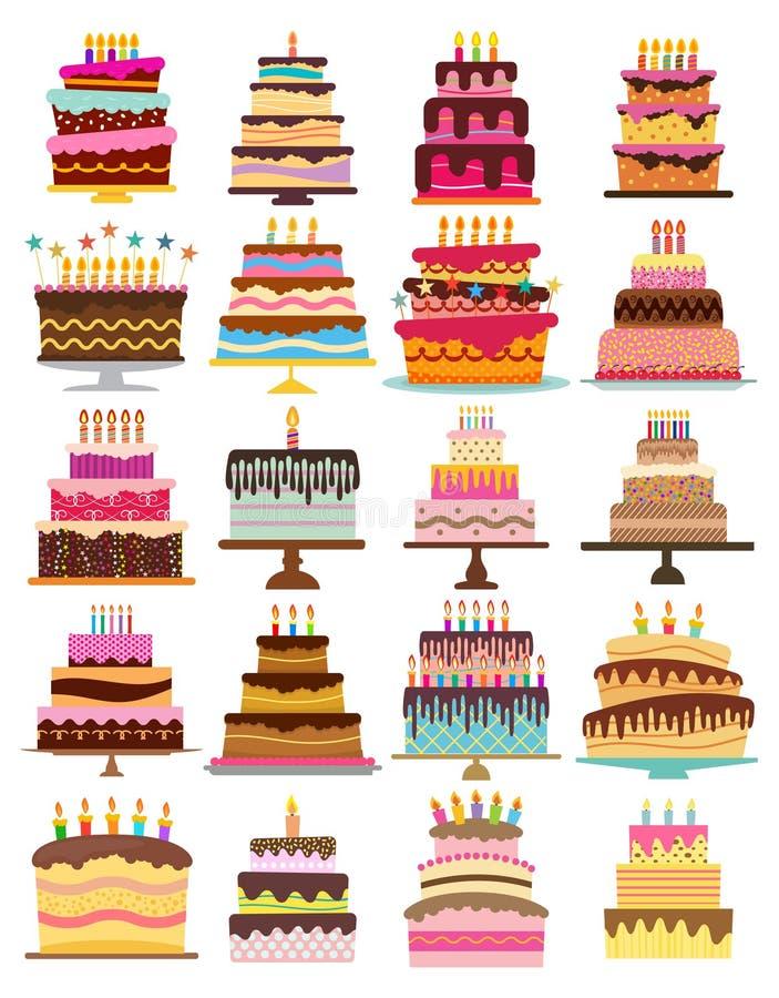 Комплект 20 сладостных именниных пирогов с горящими свечами бесплатная иллюстрация