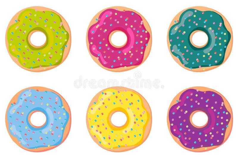 Комплект сладостных donuts теста Донут, изолированный на белой предпосылке вектор бесплатная иллюстрация