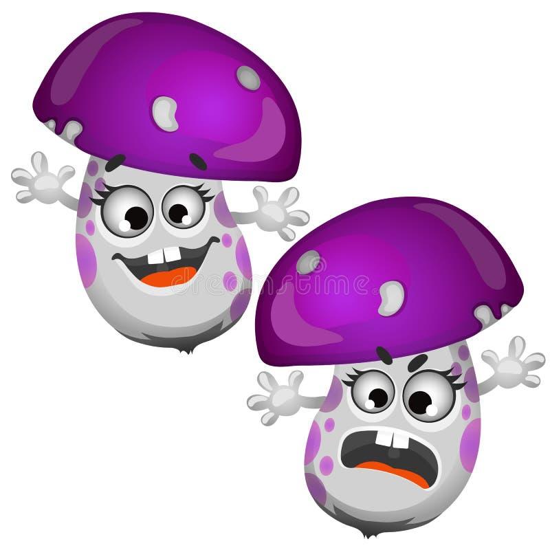 Комплект смешного смеясь над гриба изолированного на белой предпосылке Иллюстрация конца-вверх шаржа вектора иллюстрация вектора