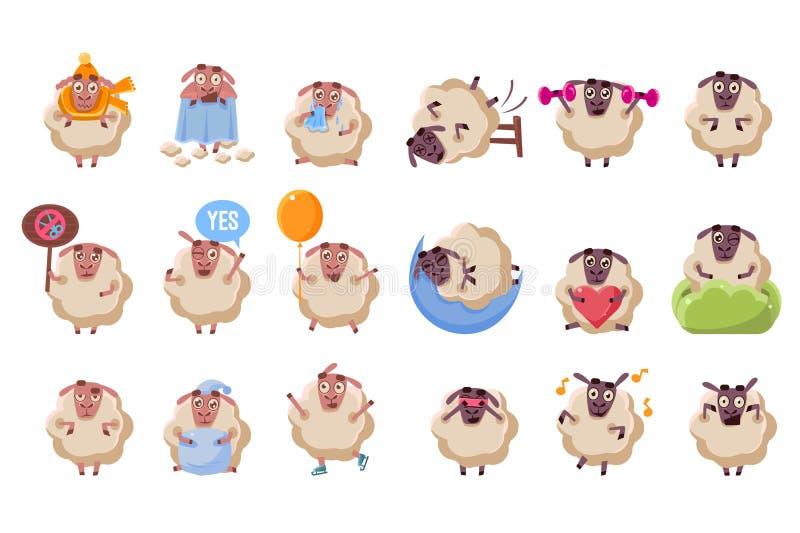 Комплект смешных персонажей из мультфильма овец большой, штоссель с различными ситуациями и эмоции vector иллюстрация иллюстрация вектора