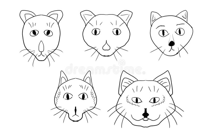 Комплект смешных сторон котов иллюстрация вектора