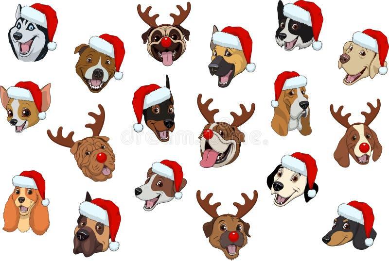 Комплект собак для рождества иллюстрация штока