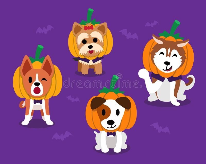 Комплект собак хеллоуина шаржа счастливых милых иллюстрация вектора