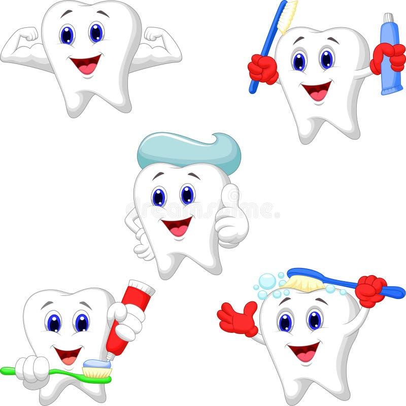 Комплект собрания зубов шаржа иллюстрация штока