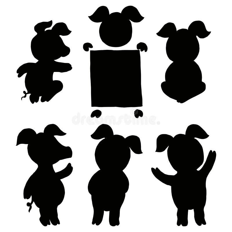 Комплект собрания свиньи Установите поздравительную открытку Нового Года знамени счастливую отрезок иллюстрация вектора
