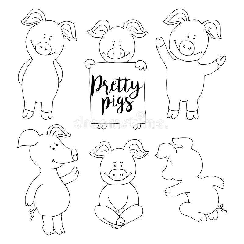 Комплект собрания свиньи Установите поздравительную открытку Нового Года знамени счастливую отрезок бесплатная иллюстрация