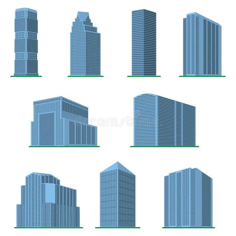 Комплект современного многоэтажного здания 9 на белой предпосылке иллюстрация вектора