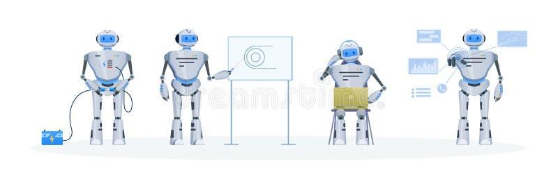 Комплект современного электронного робота, средства болтовни Деятельность, образование, поддержка бесплатная иллюстрация