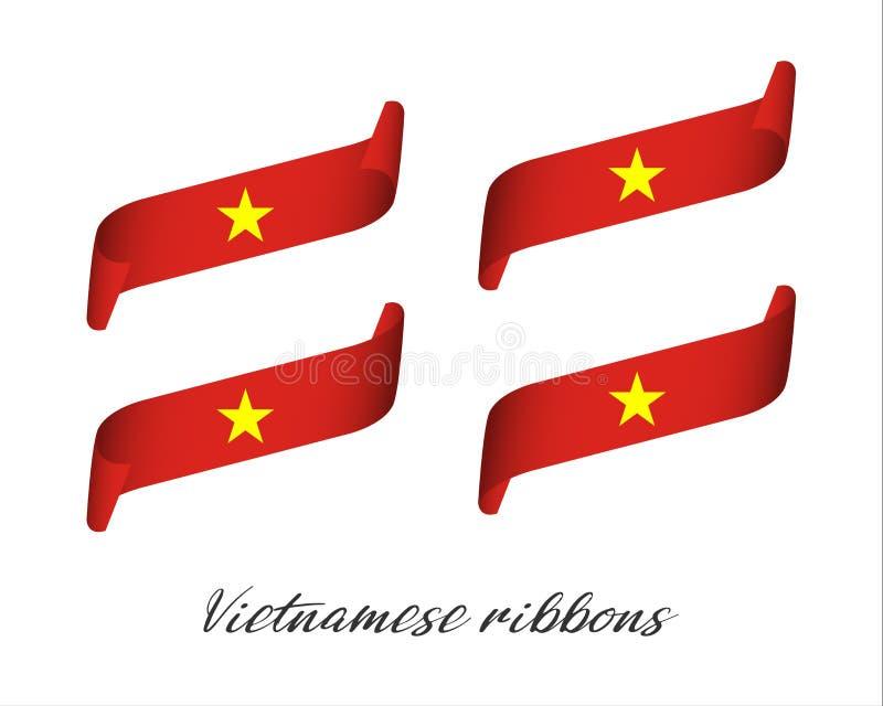 Комплект 4 современных лент вектора цвета в въетнамских цветах иллюстрация штока