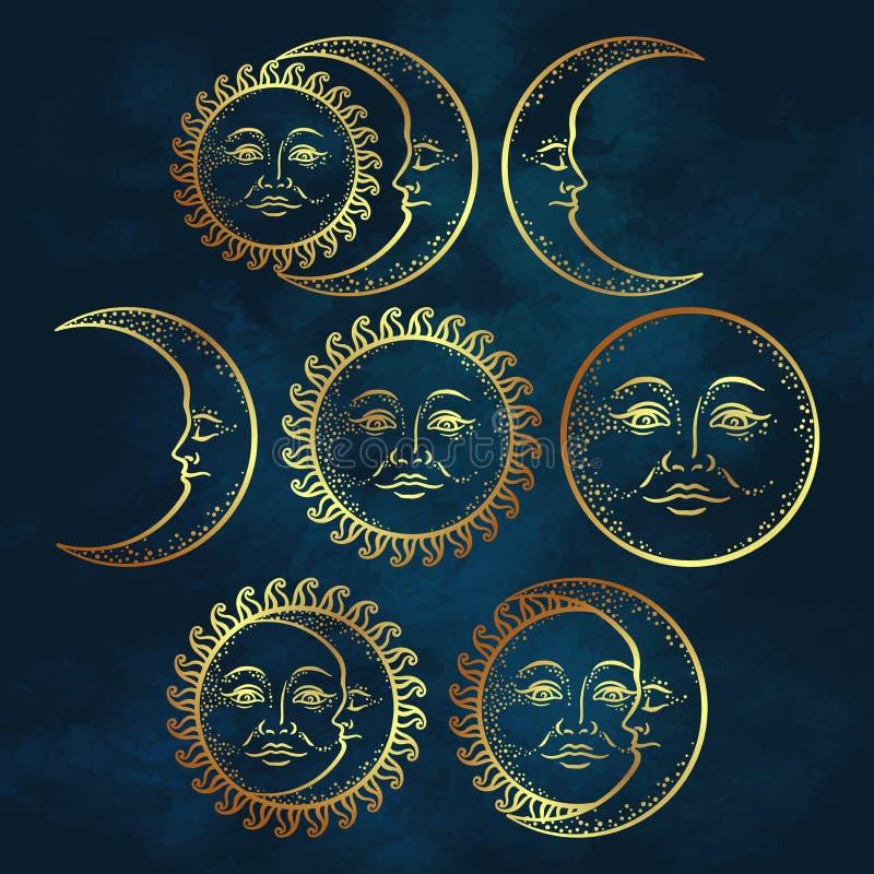 Комплект солнца золота искусства дизайна татуировки Boho шикарной внезапной нарисованный рукой и луны полумесяца Античная иллюстр иллюстрация штока
