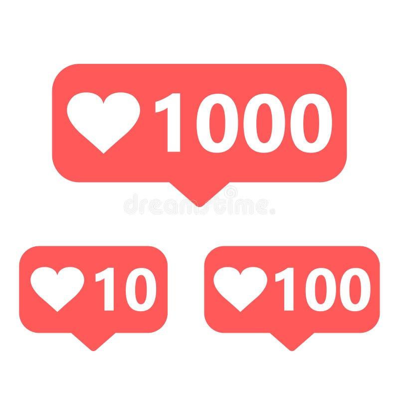 Комплект социальных значков средств массовой информации 10, 100 и 1000 подобий иллюстрация вектора