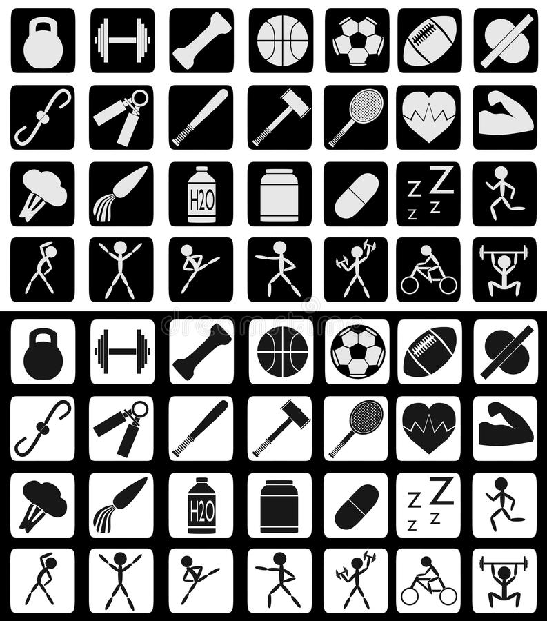 Комплект спорт и значков здоровой еды родственных в черно-белых цветах бесплатная иллюстрация