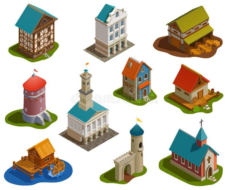 Комплект средневековых зданий равновеликий иллюстрация вектора