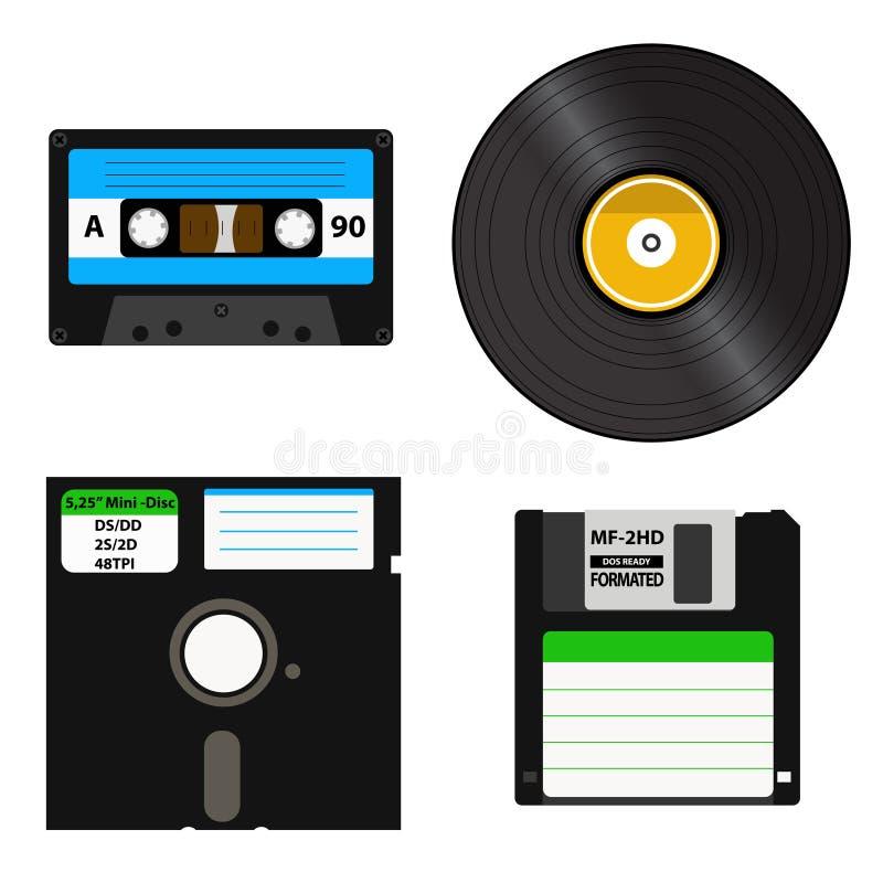 Комплект средств массовой информации различных поколений - показатель винила, кассета, 3 гибкий магнитный диск 5-inch на 5 дискет иллюстрация штока