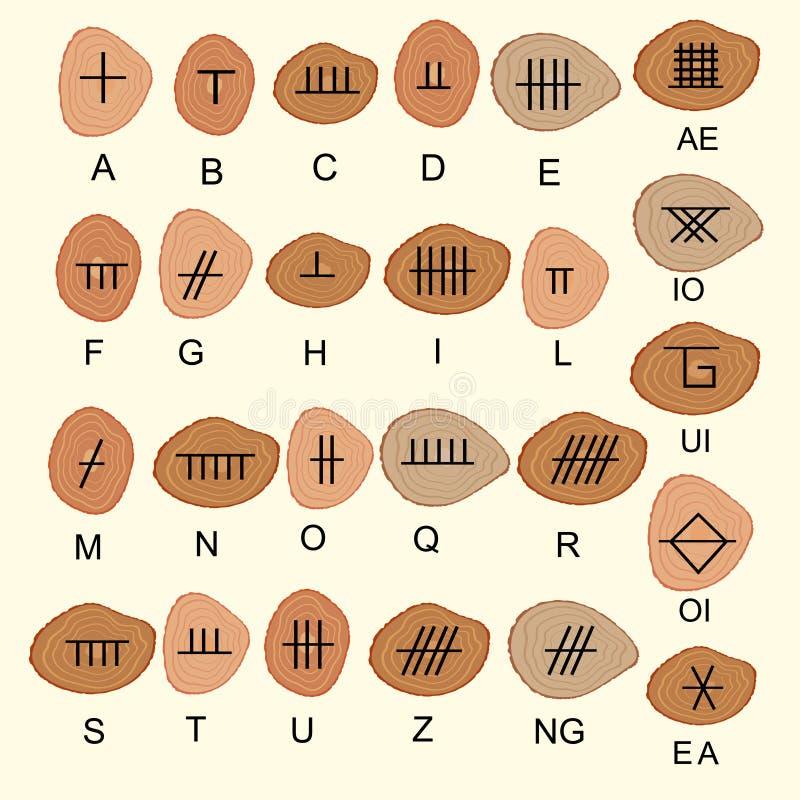 Комплект старого священного алфавита Ogham celtic высек в древесине Старый иллюстрация вектора