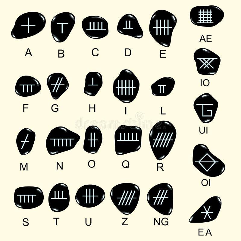 Комплект старого священного алфавита Ogham celtic высек в камне Старый бесплатная иллюстрация