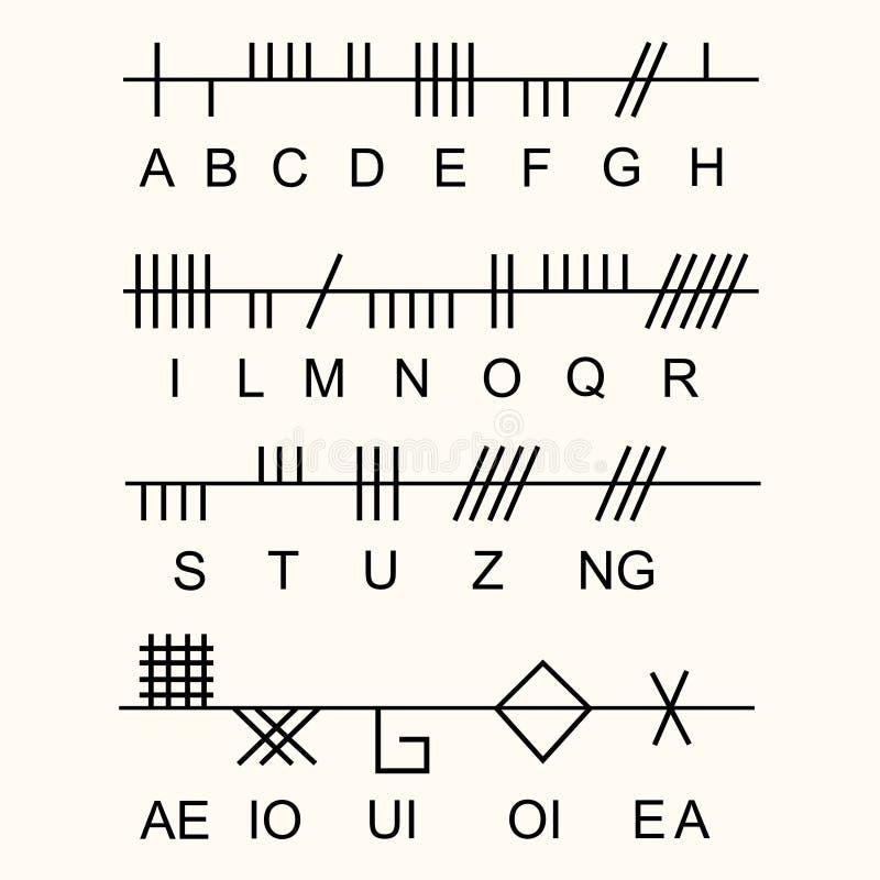 Комплект старого священного алфавита Ogham celtic Старые оккультные символы, иллюстрация вектора