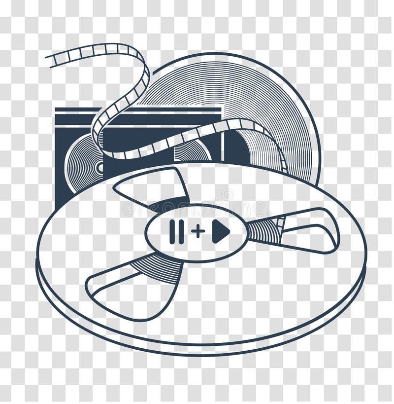 Комплект старого силуэта кассеты VHS иллюстрация вектора