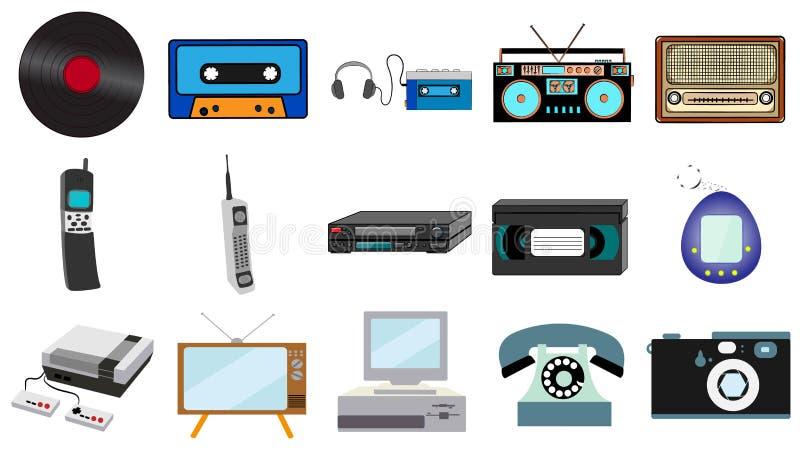Комплект старой ретро винтажной технологии битника, винил музыки электроники, аудио и игра ТВ рекордера кассеты видео утешают тел иллюстрация вектора