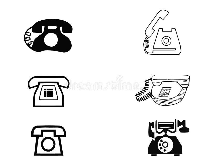 Комплект старых винтажных ретро телефонов на белой предпосылке также вектор иллюстрации притяжки corel иллюстрация вектора