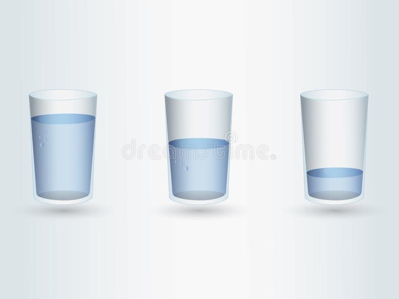 Комплект стекел с различными уровнями воды на свете - голубой предпосылке бесплатная иллюстрация